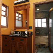 This bathroom was the winner of the large cabinetry, countertop, home, interior design, kitchen, real estate, room, red