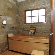 This bathroom was the winner of the large bathroom, floor, flooring, hardwood, home, interior design, room, wood, wood flooring, wood stain, brown