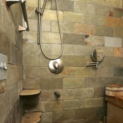 This bathroom was the winner of the large bathroom, floor, flooring, interior design, plumbing fixture, room, tile, wall, brown, orange