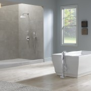 This shower was designed by Toto USA Inc. bathroom, floor, flooring, interior design, plumbing fixture, product design, tile, gray
