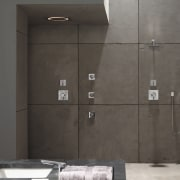 This shower was designed by Toto USA Inc. bathroom, floor, glass, plumbing fixture, shower, tile, wall, gray, black
