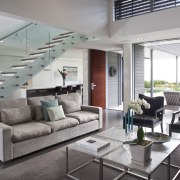 This house was designed by Hamish Cameron NZIA architecture, house, interior design, living room, penthouse apartment, real estate, gray