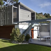 This house was designed by Hamish Cameron NZIA architecture, facade, home, house, black