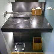 This basin was designed by Babbage Consultants. Seen countertop, floor, interior design, kitchen, plumbing fixture, sink, gray, black