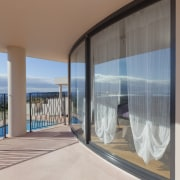 These windows were created with Glasshape's new curved architecture, interior design, property, real estate, window, gray