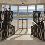 These windows were created with Glasshape's new curved apartment, balcony, baluster, estate, floor, handrail, home, house, iron, property, real estate, stairs, window, black, gray, brown