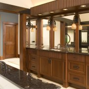 This is the master suite of the house bathroom, bathroom accessory, bathroom cabinet, cabinetry, countertop, cuisine classique, furniture, interior design, kitchen, room, wood stain, brown, orange