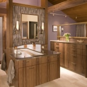 View of bathroom with wooden vanity and cabinetry. bathroom, cabinetry, countertop, cuisine classique, estate, home, interior design, kitchen, real estate, room, brown