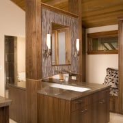 View of bathroom with wooden vanity and cabinetry. bathroom, cabinetry, countertop, cuisine classique, interior design, real estate, room, brown, orange