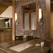 View of bathroom with wooden cabinetry and brown bathroom, cabinetry, countertop, interior design, room, brown
