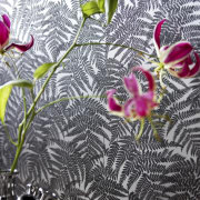 This wallpaper was supplied and designed by Pacific art, design, flora, flower, leaf, petal, pink, plant, wallpaper, gray, white, black