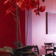 Resene provided the paints for this new Asian centrepiece, floral design, floristry, flower, flower arranging, interior design, lighting, petal, pink, plant, red, room, still life photography, table, red, pink