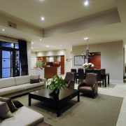 This house was designed by Mark Wilson of ceiling, interior design, living room, lobby, real estate, room, brown, gray