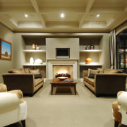 This house was designed by Mark Wilson of ceiling, interior design, living room, room, suite, brown, orange