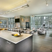 The interior of this home was designed by ceiling, countertop, interior design, kitchen, real estate, gray