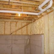 Icynene Spray Foam starts of as a liqquid attic, beam, building insulation, ceiling, floor, insulation, lumber, wall, wood, wood stain, orange, brown