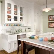 View of kitchen designed by Mikal Otten of countertop, home, interior design, kitchen, room, gray