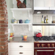 View of shelving in kitchen designed by Mikal cabinetry, chest of drawers, countertop, cuisine classique, furniture, hardwood, home, home appliance, interior design, kitchen, room, shelf, shelving, white