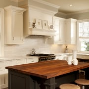 View of kitchen designed by Nadia Subaran. Designed cabinetry, countertop, cuisine classique, home, interior design, kitchen, room, window, orange