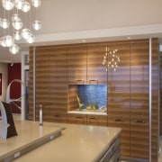 View fo kitchen remodelled with Zebrano Vaneer.  ceiling, flooring, interior design, lobby, room, gray, brown