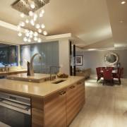 View fo kitchen remodelled with Zebrano Vaneer.  ceiling, countertop, interior design, kitchen, real estate, room, brown, orange