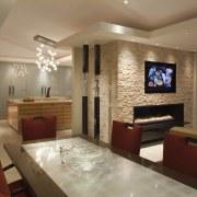 View fo kitchen remodelled with Zebrano Vaneer.  ceiling, interior design, living room, real estate, room, brown, orange