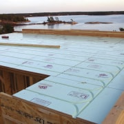 Warmboard provides and eco friendly, quiet and efficient daylighting, floor, outdoor structure, roof, table, wood, wood stain, white, brown