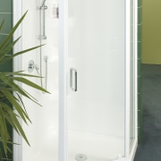 This shower unit was designed by Showerdome. - angle, plumbing fixture, shower, shower door, white