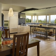 This home and kitchen was designed by Finne dining room, interior design, kitchen, real estate, table, brown