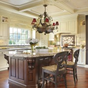 View of kitchen designed by Antoinette Fraser of cabinetry, ceiling, countertop, cuisine classique, dining room, floor, flooring, furniture, hardwood, home, interior design, kitchen, room, table, wood, wood flooring, brown, orange