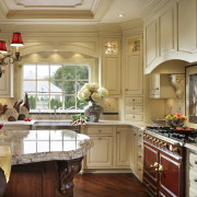 View of kitchen designed by Antoinette Fraser of cabinetry, countertop, cuisine classique, home, interior design, kitchen, room, window, brown