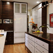 View of kitchen designed by Jennifer Gilmer.  cabinetry, ceiling, countertop, floor, flooring, hardwood, interior design, kitchen, laminate flooring, room, wood flooring, gray