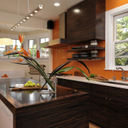View of kitchen designed by Jennifer Gilmer.  countertop, home, house, interior design, kitchen, real estate, room