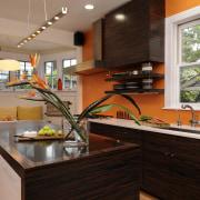 View of kitchen designed by Jennifer Gilmer.  countertop, home, interior design, kitchen, real estate, room, brown
