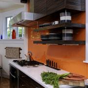 View of kitchen designed by Jennifer Gilmer.  cabinetry, countertop, interior design, kitchen, black