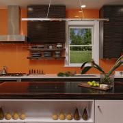 View of kitchen designed by Jennifer Gilmer.  cabinetry, countertop, interior design, kitchen, room, under cabinet lighting, brown