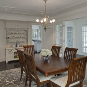 View of dining area in 1950's remodelled lakefront ceiling, dining room, estate, home, house, interior design, living room, property, real estate, room, table, window, gray