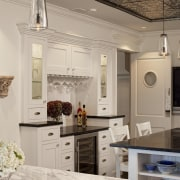 View of kitchen in 1950's remodelled lakefront home cabinetry, ceiling, countertop, cuisine classique, floor, home, interior design, kitchen, living room, room, gray