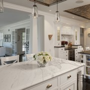 View of kitchen in 1950's remodelled lakefront home countertop, cuisine classique, home, interior design, kitchen, real estate, room, gray