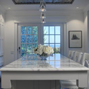 View of dining aread in 1950's remodelled lakefront ceiling, countertop, daylighting, home, interior design, room, table, window, gray