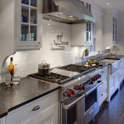 View of kitchen in 1950's remodelled lakefront home cabinetry, countertop, cuisine classique, home, home appliance, interior design, kitchen, kitchen appliance, room, gray