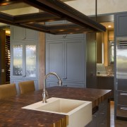 View of kitchen, great room and wine cellar. cabinetry, countertop, interior design, kitchen, room, brown, gray
