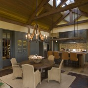 View of kitchen, great room and wine cellar. interior design, living room, brown