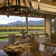 View of kitchen, great room and wine cellar. estate, home, interior design, living room, property, real estate, resort, window, brown