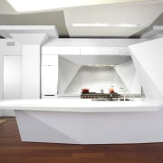Here is a view of a kitchen designed architecture, countertop, furniture, interior design, product design, table, white, gray