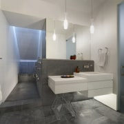 View of contemporary bathroom with white walls, grey architecture, bathroom, floor, flooring, interior design, product design, real estate, room, sink, tile, gray