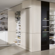 "Photography of the ""FloatingSpaces"" system by SieMatic. home appliance, interior design, kitchen, major appliance, refrigerator, gray"
