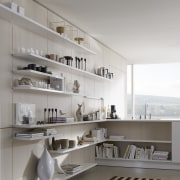 "Photography of the ""FloatingSpaces"" system by SieMatic. architecture, interior design, product design, shelf, shelving, gray"