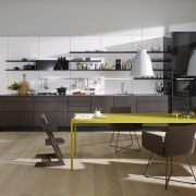 "Photography of the ""FloatingSpaces"" system by SieMatic. countertop, floor, furniture, interior design, kitchen, product design, table, gray"
