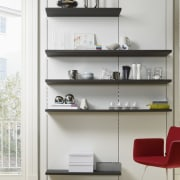 "Photography of the ""FloatingSpaces"" system by SieMatic. bookcase, chest of drawers, display case, furniture, product, product design, shelf, shelving, white"